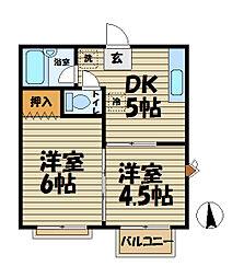 メゾン小菅ヶ谷[201号室]の間取り