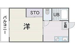 ハイツ新宮苑 3階1DKの間取り