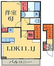京成本線 志津駅 徒歩13分の賃貸アパート 2階1LDKの間取り