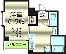ラ・ボヌール 3階1Kの間取り