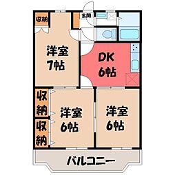 栃木県宇都宮市陽東4丁目の賃貸マンションの間取り