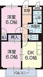 JR大糸線 信濃松川駅 3.3kmの賃貸アパート 1階2DKの間取り