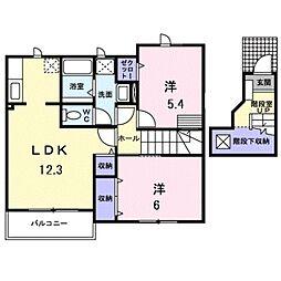 愛知県田原市西神戸町清水の賃貸アパートの間取り