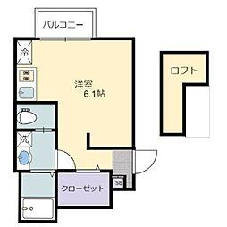 南海高野線 萩原天神駅 徒歩6分の賃貸アパート 1階ワンルームの間取り