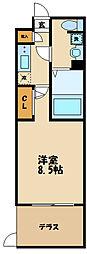 小田急小田原線 祖師ヶ谷大蔵駅 徒歩9分の賃貸マンション 1階1Kの間取り