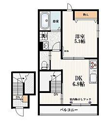 西武池袋線 椎名町駅 徒歩4分の賃貸マンション 2階1DKの間取り