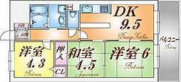 ライオンズマンション長田ヒルズ[6階]の間取り