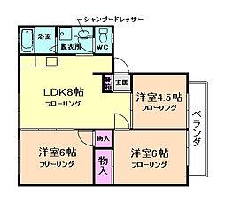 ウィンディア上野 2階3LDKの間取り