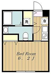 小田急小田原線 相武台前駅 徒歩10分の賃貸マンション 3階1Kの間取り