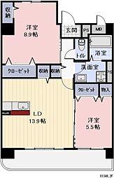 名鉄犬山線 岩倉駅 徒歩15分の賃貸マンション 2階2LDKの間取り