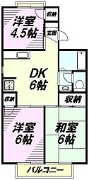 東京都八王子市緑町の賃貸アパートの間取り