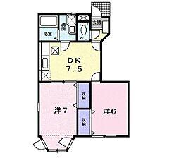 サンフラワー・U 1階2DKの間取り