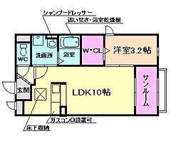 大阪府豊中市野田町の賃貸アパートの間取り