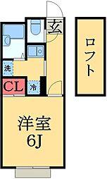 千葉県市原市南国分寺台4丁目の賃貸アパートの間取り