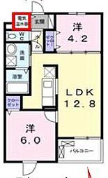 JR武蔵野線 北朝霞駅 徒歩16分の賃貸マンション 3階2LDKの間取り