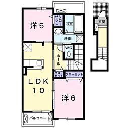 エスポワールK&L II 2階2LDKの間取り
