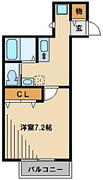 東武東上線 川越駅 徒歩12分の賃貸アパート 2階1Kの間取り