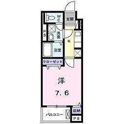 つくばエクスプレス 八潮駅 徒歩9分の賃貸マンション 1階1Kの間取り