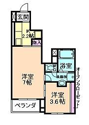 大阪府豊中市小曽根2丁目の賃貸アパートの間取り