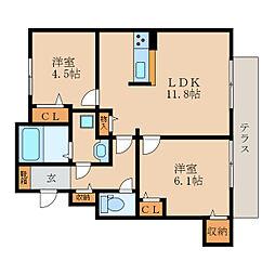 滋賀県栗東市下戸山の賃貸アパートの間取り