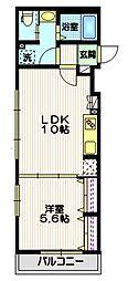 東急大井町線 戸越公園駅 徒歩8分の賃貸マンション 3階1LDKの間取り