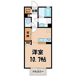 D-room思川ルージュ A 1階ワンルームの間取り