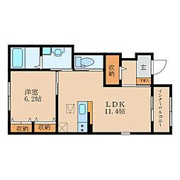 (仮称)栗東市大橋賃貸アパート 2階2LDKの間取り