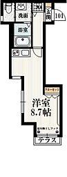 京王線 笹塚駅 徒歩7分の賃貸マンション 1階ワンルームの間取り