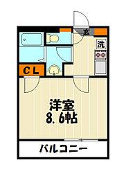 東武東上線 朝霞台駅 徒歩19分の賃貸マンション 1階1Kの間取り