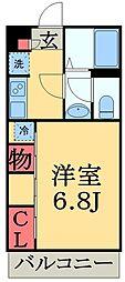 JR総武線 稲毛駅 徒歩15分の賃貸マンション 3階1Kの間取り