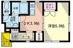 神奈川県川崎市中原区下小田中1の賃貸アパートの間取り