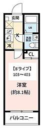 JR常磐線 柏駅 徒歩10分の賃貸マンション 4階1Kの間取り