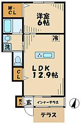 東京都八王子市大塚の賃貸アパートの間取り
