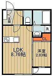 西武池袋線 狭山ヶ丘駅 徒歩9分の賃貸アパート 1階1LDKの間取り