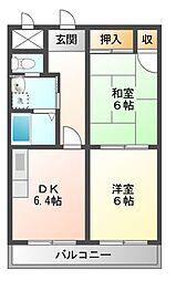 愛知県岡崎市不吹町の賃貸アパートの間取り