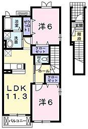 ラ・フルールIV[2階]の間取り