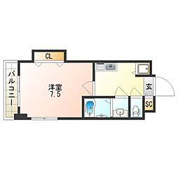 Osaka Metro四つ橋線 花園町駅 徒歩2分の賃貸マンション 11階1Kの間取り