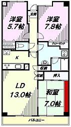 東京都八王子市散田町3丁目の賃貸マンションの間取り