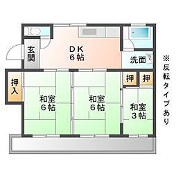 愛知県岡崎市舳越町字本郷の賃貸マンションの間取り