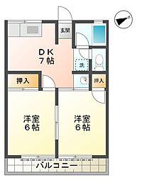 愛知県豊田市今町3丁目の賃貸アパートの間取り
