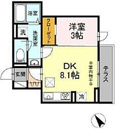 多摩都市モノレール 立川北駅 徒歩11分の賃貸アパート 2階1DKの間取り