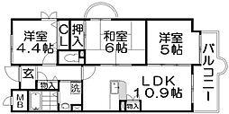 香里プラザ6[5階]の間取り