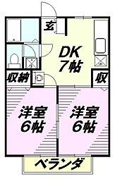 埼玉県入間市春日町2丁目の賃貸アパートの間取り