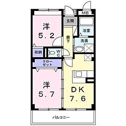 南海高野線 萩原天神駅 徒歩12分の賃貸マンション 2階2DKの間取り