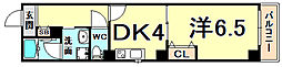 古湊第2リーフビル 5階1DKの間取り