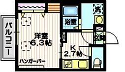 Haus1319N 2階1Kの間取り