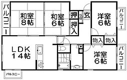 KKグリーンタウン東香里A[4階]の間取り