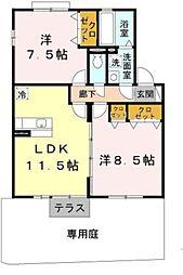 大阪府羽曳野市高鷲7丁目の賃貸アパートの間取り