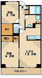 マロンボナール 4階2LDKの間取り