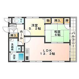 愛知県豊橋市山田三番町の賃貸アパートの間取り